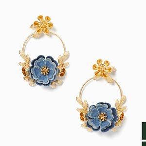 NWT Kate spade denim floral hoop earrings
